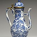 Ewer with Foliate Panels, porcelain with underglaze blue and French ormolu mounts. Porcelain: <b>1675</b>-<b>1725</b>; Mounts: early 18th cent