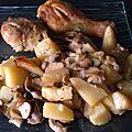 Poulet au four avec pommes de terre fondantes et champignons