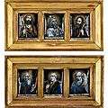 A set of five French enamel plaques of saints, <b>Jacques</b> <b>Laudin</b> II (circa 1663-1729), Limoges, late 17th-early 18th century