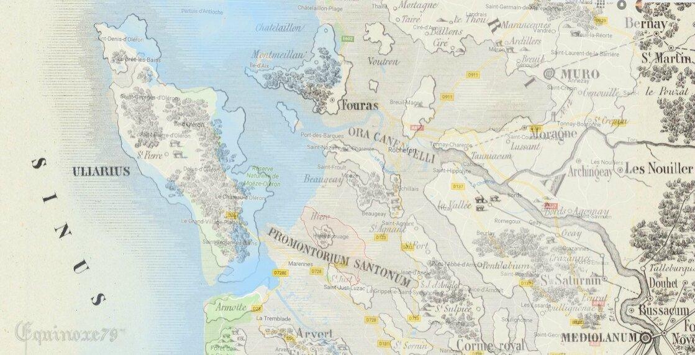 Lacurie (abbé). Carte du Golfe des Santons, Pictons sous les Romains
