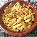 Tadjine d'agneau aux pommes de terre, olives et carottes