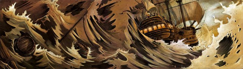 navire en tempête