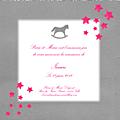 FP cheval à bascule gris nuée d'étoiles rose modèle Isaure