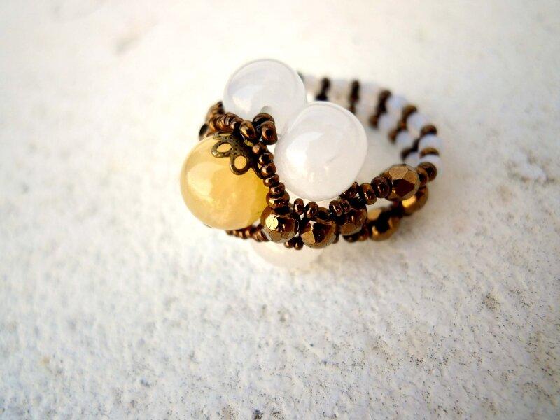 cristal de roche & jade jaune
