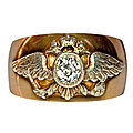 A Russian Imperial Presentation Crested Gold and Diamond Antique Men's Ring. Russia, <b>1908</b>-<b>1917</b>