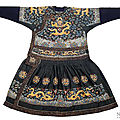 A fine silk gauze robe <b>chaofu</b> (Festive robe) with dragon roundels and dragon embroidery, China, Qing dynasty
