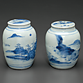 Two small blue and white ovoid jars and covers, Chongzhen period, circa 1643
