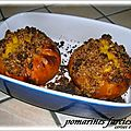 Pomarines farcies sous crumble de pain d'epices ( dessert )
