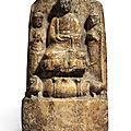 A '<b>huanghuashi</b>' stele of a Buddhist triad, Northern Zhou dynasty (557-581)
