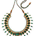 An emerald and diamond-set enamelled gold necklace, India, late 19th-early <b>20th</b> <b>century</b>