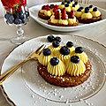 Tartelettes <b>sablé</b> <b>Breton</b> , crème pâtissière vanille et fruits rouges