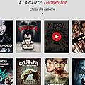 Les <b>films</b> d'horreur proposés par l'appli Android PlayVOD