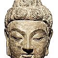 A very rare grey limestone head of Buddha Shakyamuni, Tang Dynasty, Longmen <b>Caves</b>, 7th century AD