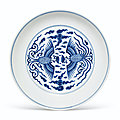 A blue and white 'phoenix' dish, Daoguang seal mark inunderglaze blue and of the period (<b>1821</b>-1850)