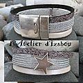 Où est ma bonne <b>étoile</b> ???<b>bracelet</b> créé par mes petites mains en cuir blanc satiné, lanière métallisé façon cote de maille, cuir