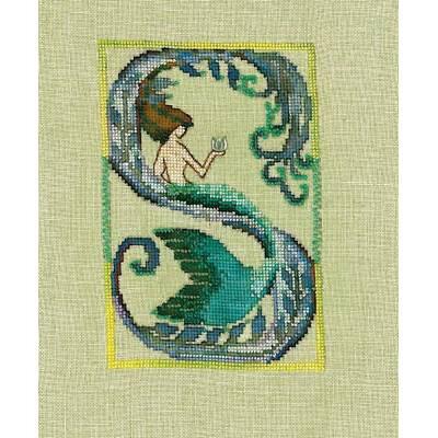 broderie sirène - NoraC-LettreS-Mermaid