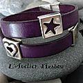 Début de semaine en couleur et en modernité avec ce <b>bracelet</b> <b>cuir</b> <b>violet</b> et passants métal argenté !