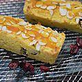 Gâteau acidulé à l'orange, polenta et coco