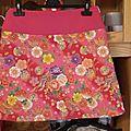 Jupe trapèze japonaise à fleurs