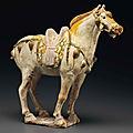 A <b>sancai</b>-glazed pottery figure of a horse, Tang dynasty (AD 618-907)
