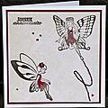 Des fées ... des strass ... une touche de broderie faite à la <b>main</b> ... une carte d'anniversaire pour fille !
