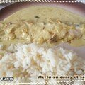 Merlu au <b>curry</b>/creme fraiche et son riz (Hake fillets with <b>curry</b>/heavy cream and rice)