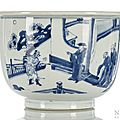 A blue and white porcelain cachepot,China, Kangxi period