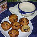 Muffins à la vanille, poire et aux pépites au chocolat
