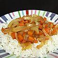 Riz thaï et compotée d'oignons et carottes au tamari