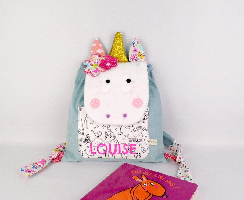 Sac licorne personnalisable couleur prenom Louise sac à dos bébé licorne crèche nounou école maternelle unicorn toddler backpack with name preschool kids bag unicorn girl