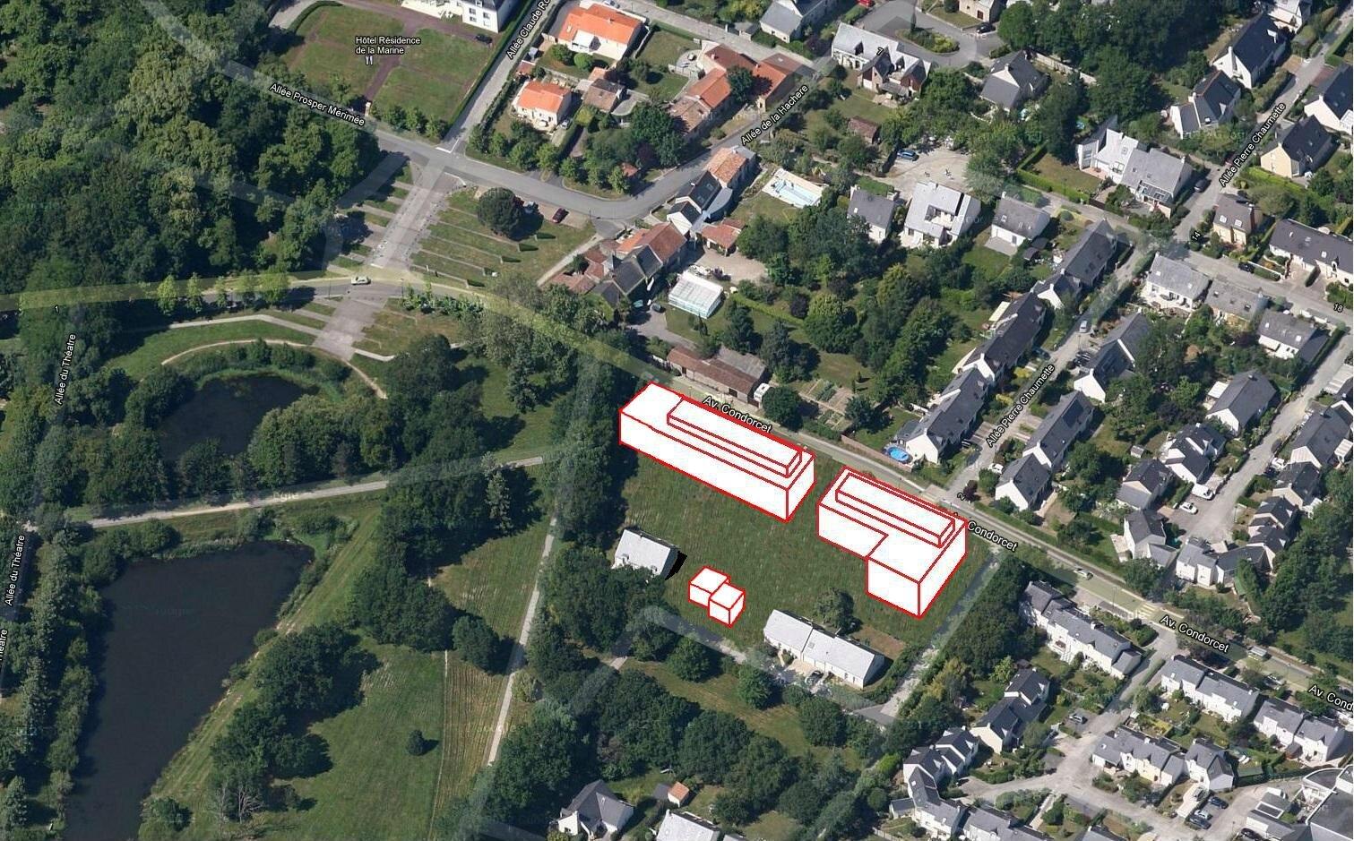 Vue aérienne : simulation du projet d'immeubles