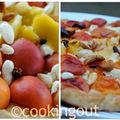 Tarte aux abricots, brousse, amandes fraîches et poivre long