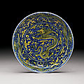 A yellow-enamelled and blue ground 'dragon' dish, mark and period of kangxi (1662-1722)