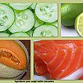 Soupe froide melon-concombre et saumon fumé
