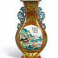 A fine <b>café</b>-au-<b>lait</b> ground Famille-Rose wall vase, Seal mark and period of Qianlong (1736-1795)