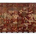 A Twelve-panel Brown-ground <b>Coromandel</b> <b>Lacquer</b> Screen. Qing dynasty, Kangxi period