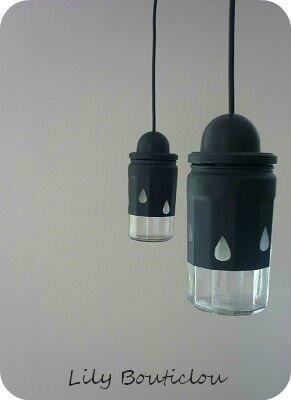 DIY tuto suspension luminaire pot confiture lily bouticlou