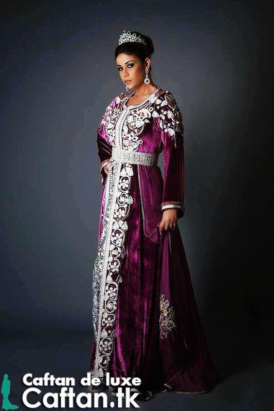 Caftan marocain mauve élégance 2014 - Caftan haute couture 2016 | 2017