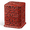 A rare carved cinnabar lacquer four-tiered box and <b>cover</b>, Ming dynasty, 16th-17th century
