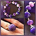 bracelet et bague violette