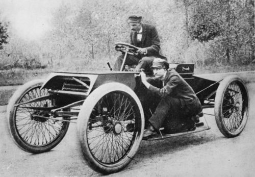 1901 henry ford, ed 'spider' huff aboard 'sweepstakes'