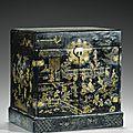 Coffret de lettré en <b>laque</b> <b>noire</b> et <b>incrustations</b> de <b>nacre</b>, dynastie Ming, XVIIe siècle
