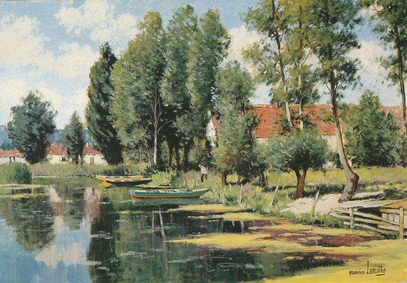 Maurice Lemaître Paysage de l'Audomarois Huile sur toile 38x55cm