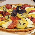 Tarte fine tomates, pesto & mozza