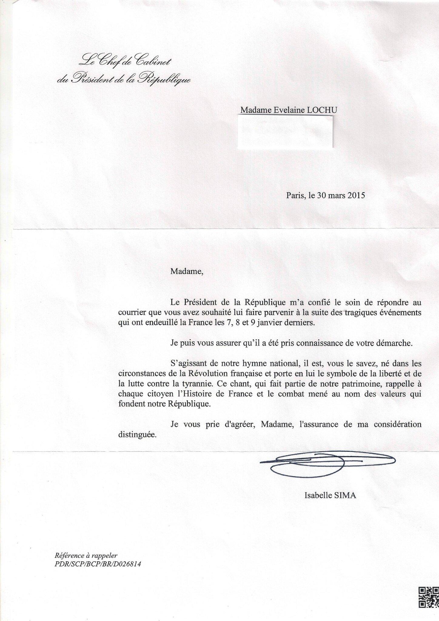 Réponse Présidence de la République