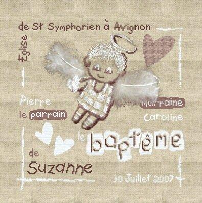 """Fiche point de croix Lili Points """"Le baptême"""""""