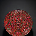 A rare large carved cinnabar-lacquer <b>box</b> <b>and</b> <b>cover</b>, Qing dynasty, 18th century