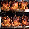 Regarder et sentir les poulets dans la rotissoire ...