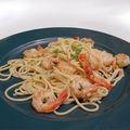Spaghetti barilla sautés aux crevettes