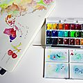 Carte du monde à l'aquarelle